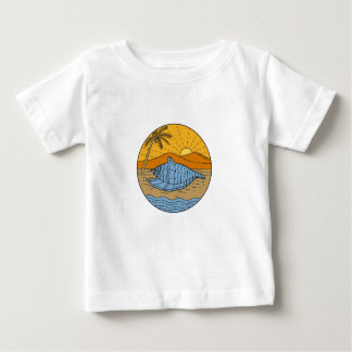 Conch Shell on Beach Mountain Sun Coconut Tree Mon Baby T-Shirt