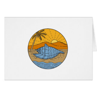 Conch Shell on Beach Mountain Sun Coconut Tree Mon Card
