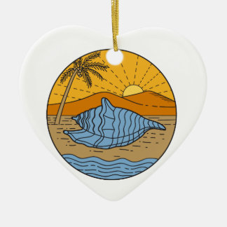 Conch Shell on Beach Mountain Sun Coconut Tree Mon Ceramic Heart Ornament