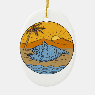 Conch Shell on Beach Mountain Sun Coconut Tree Mon Ceramic Oval Ornament