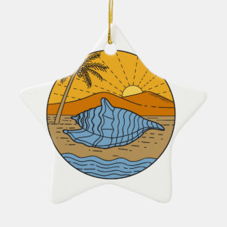 Conch Shell on Beach Mountain Sun Coconut Tree Mon Ceramic Star Ornament