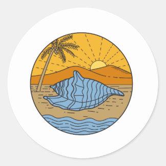 Conch Shell on Beach Mountain Sun Coconut Tree Mon Classic Round Sticker