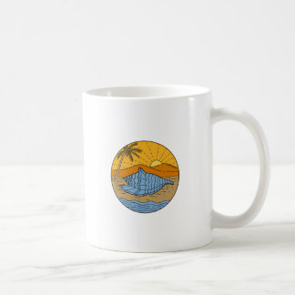 Conch Shell on Beach Mountain Sun Coconut Tree Mon Coffee Mug
