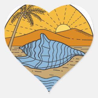 Conch Shell on Beach Mountain Sun Coconut Tree Mon Heart Sticker