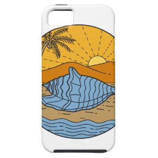 Conch Shell on Beach Mountain Sun Coconut Tree Mon iPhone 5 Case