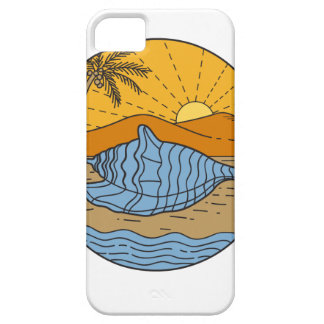 Conch Shell on Beach Mountain Sun Coconut Tree Mon iPhone 5 Covers