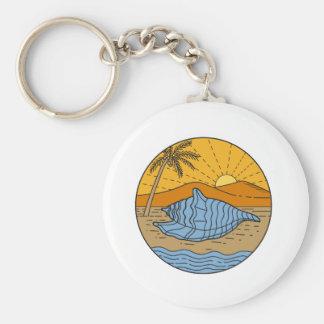 Conch Shell on Beach Mountain Sun Coconut Tree Mon Keychain