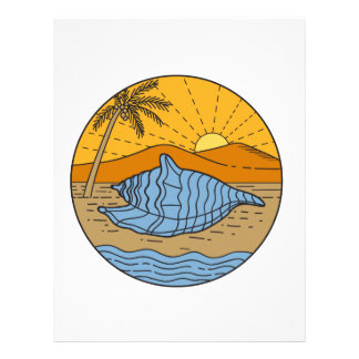 Conch Shell on Beach Mountain Sun Coconut Tree Mon Letterhead