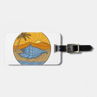 Conch Shell on Beach Mountain Sun Coconut Tree Mon Luggage Tag