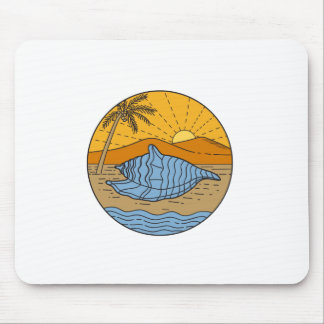 Conch Shell on Beach Mountain Sun Coconut Tree Mon Mouse Pad