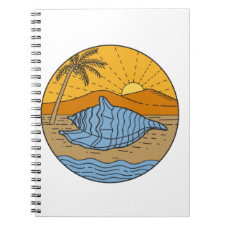 Conch Shell on Beach Mountain Sun Coconut Tree Mon Notebooks