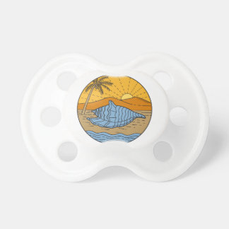 Conch Shell on Beach Mountain Sun Coconut Tree Mon Pacifiers