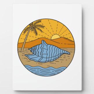 Conch Shell on Beach Mountain Sun Coconut Tree Mon Plaque