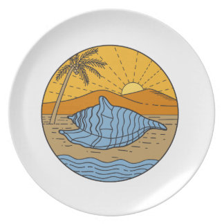 Conch Shell on Beach Mountain Sun Coconut Tree Mon Plate