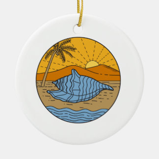 Conch Shell on Beach Mountain Sun Coconut Tree Mon Round Ceramic Ornament
