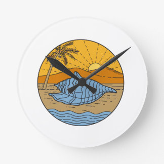Conch Shell on Beach Mountain Sun Coconut Tree Mon Round Clock