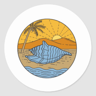 Conch Shell on Beach Mountain Sun Coconut Tree Mon Round Sticker