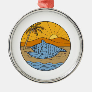 Conch Shell on Beach Mountain Sun Coconut Tree Mon Silver-Colored Round Ornament