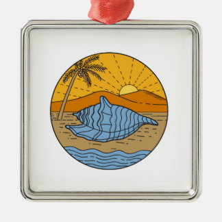 Conch Shell on Beach Mountain Sun Coconut Tree Mon Silver-Colored Square Ornament