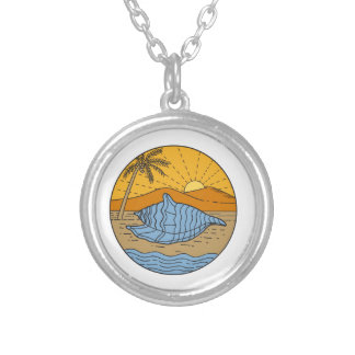 Conch Shell on Beach Mountain Sun Coconut Tree Mon Silver Plated Necklace
