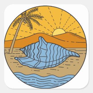 Conch Shell on Beach Mountain Sun Coconut Tree Mon Square Sticker