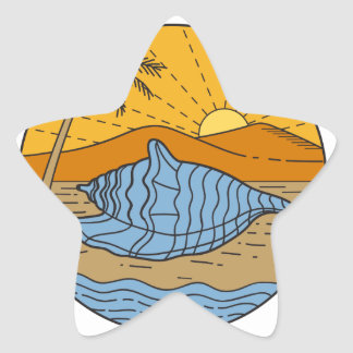 Conch Shell on Beach Mountain Sun Coconut Tree Mon Star Sticker