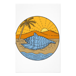 Conch Shell on Beach Mountain Sun Coconut Tree Mon Stationery