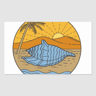 Conch Shell on Beach Mountain Sun Coconut Tree Mon Sticker