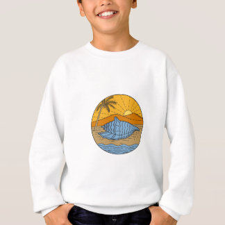 Conch Shell on Beach Mountain Sun Coconut Tree Mon Sweatshirt