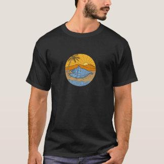 Conch Shell on Beach Mountain Sun Coconut Tree Mon T-Shirt