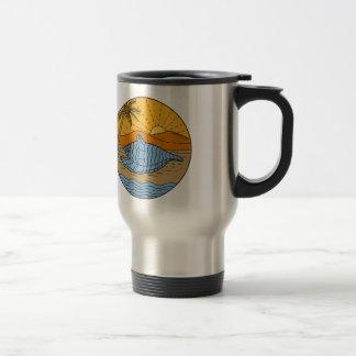 Conch Shell on Beach Mountain Sun Coconut Tree Mon Travel Mug