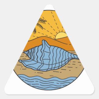 Conch Shell on Beach Mountain Sun Coconut Tree Mon Triangle Sticker
