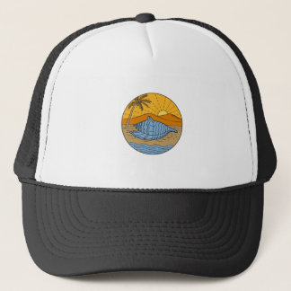 Conch Shell on Beach Mountain Sun Coconut Tree Mon Trucker Hat