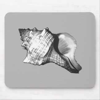 Conch shell sketch - shades of grey and white mouse pad