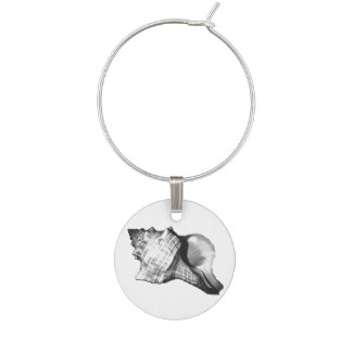 Conch shell sketch - shades of grey and white wine charm