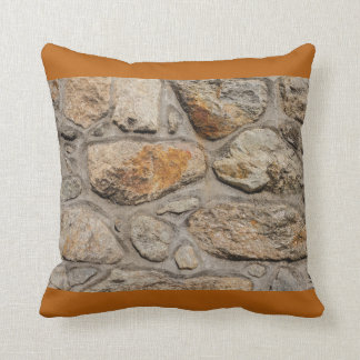 concrete and stone wall on Cotton Throw Pillow