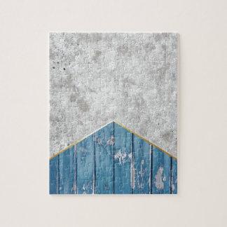 Concrete Arrow Blue Wood #347 Jigsaw Puzzle