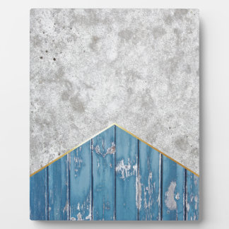 Concrete Arrow Blue Wood #347 Plaque