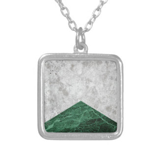 Concrete Arrow Green Granite #412 Silver Plated Necklace