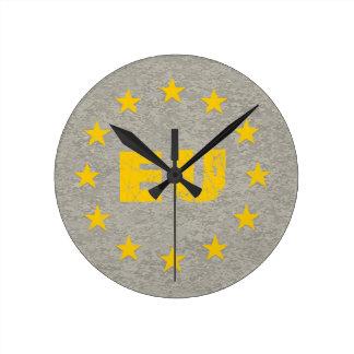 Concrete EU Flag Round Clock