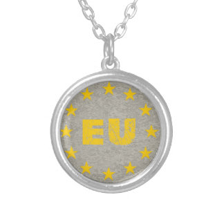 Concrete EU Flag Silver Plated Necklace