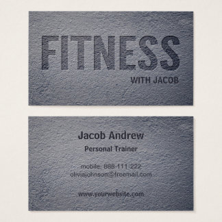 Concrete Faux Letterpress Fitness Personal Trainer Business Card