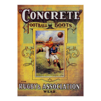 Concrete Football Boots - Vintage Rugby Poster