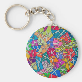 Concrete Jungle Abstract Art Basic Round Button Keychain