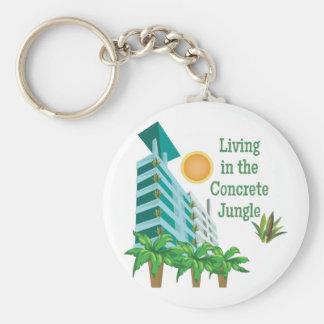 Concrete Jungle Basic Round Button Keychain
