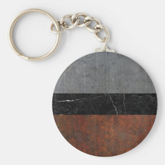 Concrete, Marble and Rusted Iron Abstract Basic Round Button Keychain