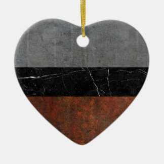 Concrete, Marble and Rusted Iron Abstract Ceramic Heart Ornament