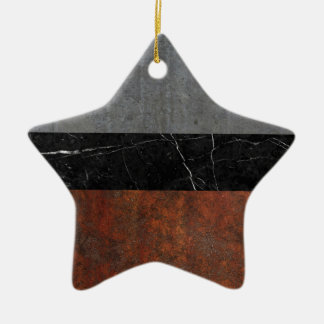 Concrete, Marble and Rusted Iron Abstract Ceramic Star Ornament