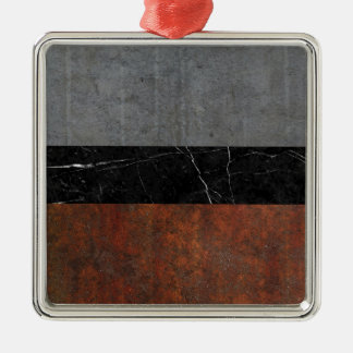Concrete, Marble and Rusted Iron Abstract Silver-Colored Square Ornament