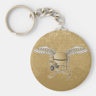 Concrete mixer beige basic round button keychain